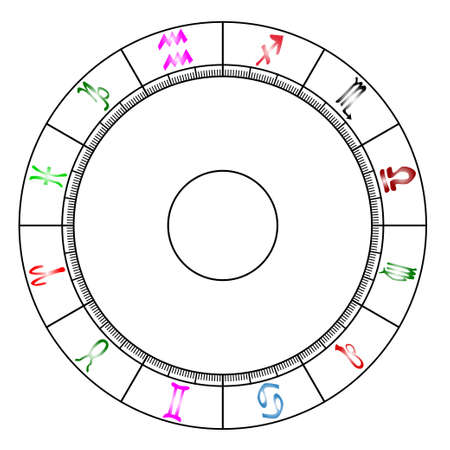A blank astrology chart over a white background Illustration