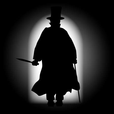 cobbled: Jack the Ripper walking through a dark alleyway with the light behind Illustration