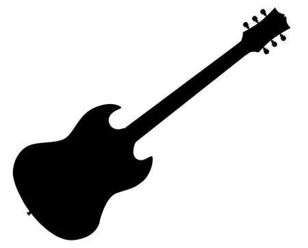 A solid body horned electric guitar silhouette set in a white background. Vector