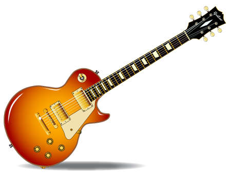 The definitive rock and roll guitar in black, isolated over a white background. Vector