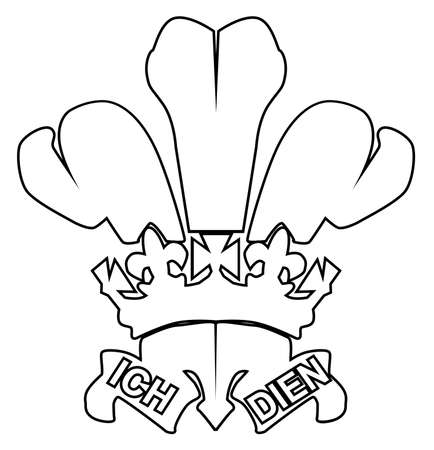 cymru: The traditional Fleur de Lis or three feathers symbol, or Prince ofWales\ Illustration