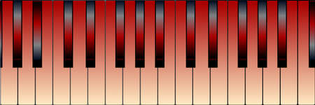 Black and white piano keys with a tint of red Vector