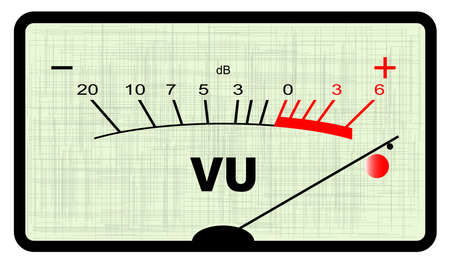 A typical analogue audio meter as found on old tape recorders with the needle in the red Vector