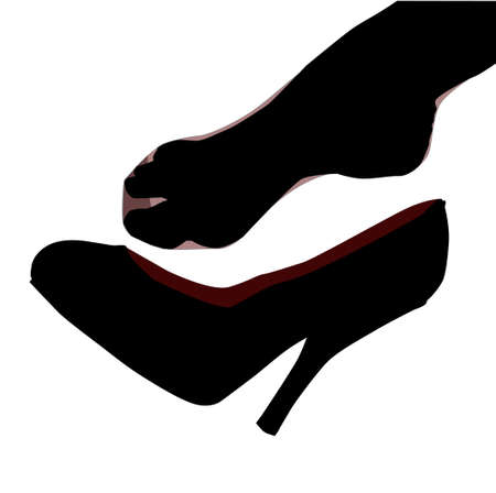 hosiery: A stockinged foot slipping of a stiletto heel shoe. Illustration