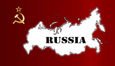 russian flag: Hammer and Sickle in gold set on a Russian Flag with map inset