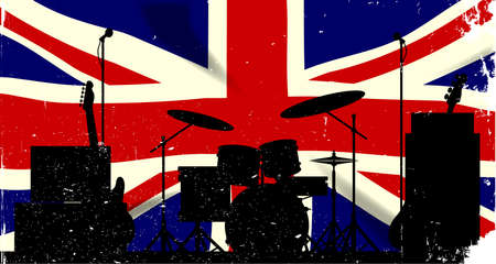 grunge union jack: Grunge Union Jack flag as a bakground to a rock band silhouette