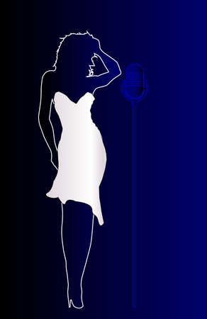 vocalist: A girl in blue with a bright white dress on a faded blue background Illustration