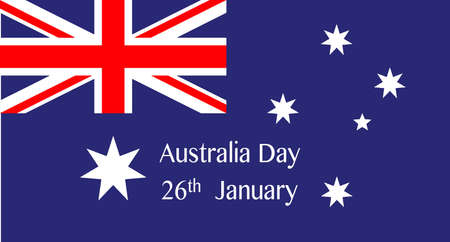 26th: Australian Flag with the text Australia Day 26th January
