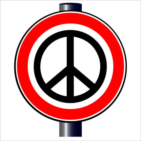 spoof: A large round red traffic displaying a Ban the Bomb style image
