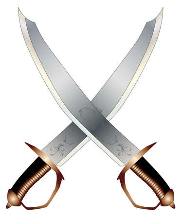 sabre: Two typical pirate cutlases isolated on a white background