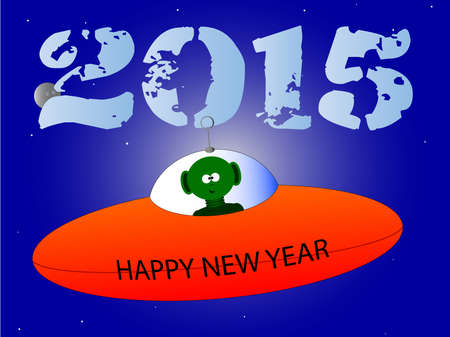 flying saucer: A happy new years mesage from a flying saucer and alien.