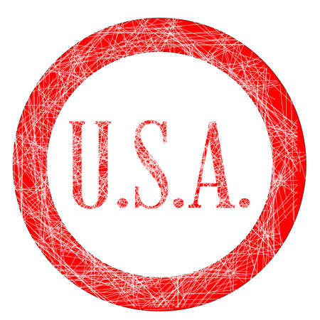 initials: The initials USA on a red grunge effect stamp Illustration