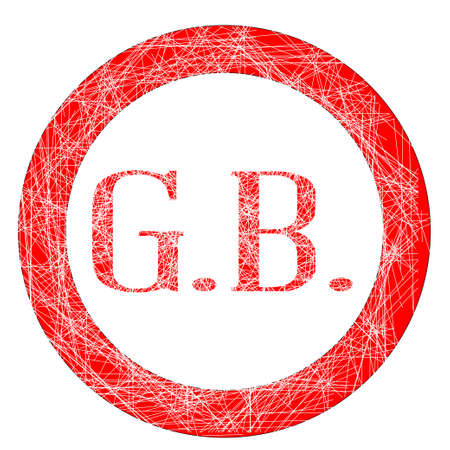 The initials GB on a red grunge effect stamp