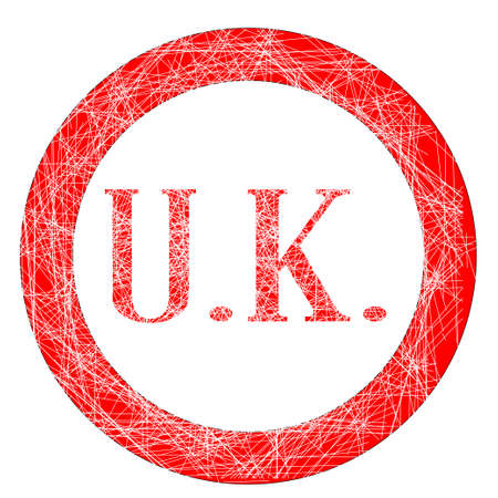 initials: The initials UK on a red grunge effect stamp