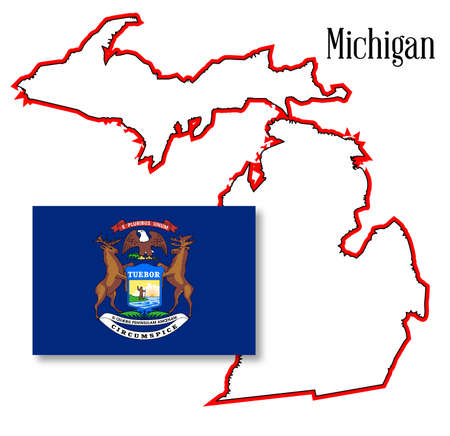inset: Outline map of the state of Michigan with map inset