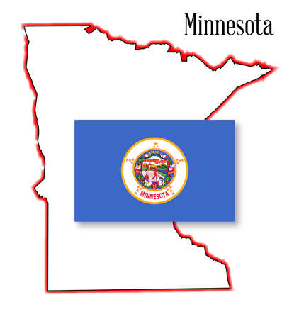 inset: An outline map of Minnesota isolated on a white background with flag inset