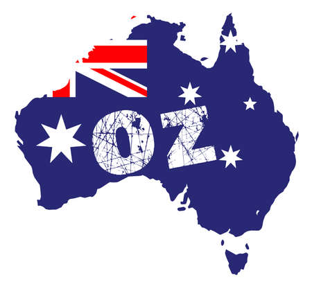 oz: Outline map of Australia over a white background with flag inset and OZ