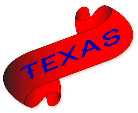 A parchment scroll with the words texas all over a white background