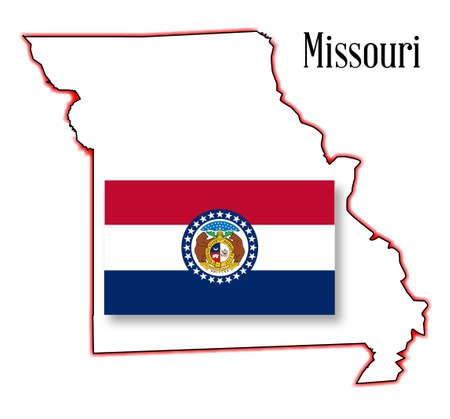 inset: Outline map of the state of Missouri with flag inset