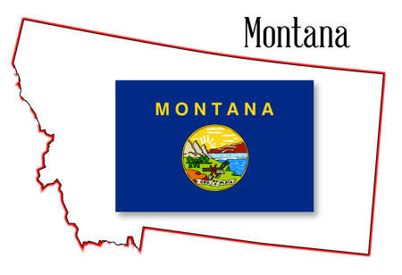 inset: Outline of the state of Montana isolated with flag inset Illustration