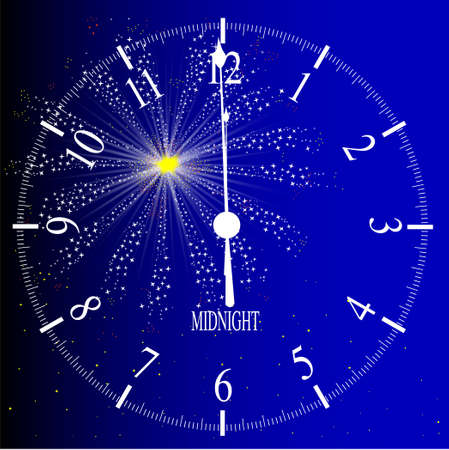An old English office type clock face over a new year firework Vector
