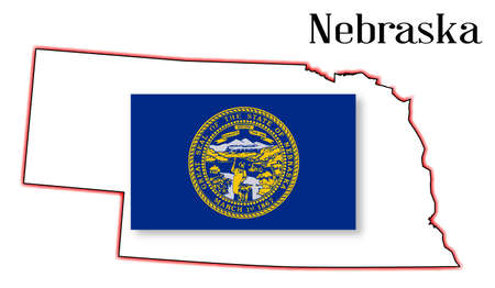 inset: Outline of the US state of nebraska over a white background woth flag inset