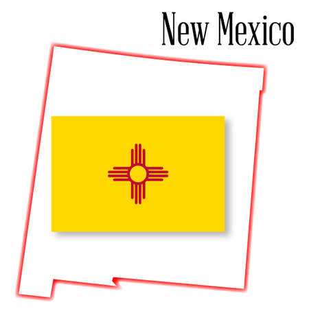 inset: Outline map of the state of New Mexico with flag inset