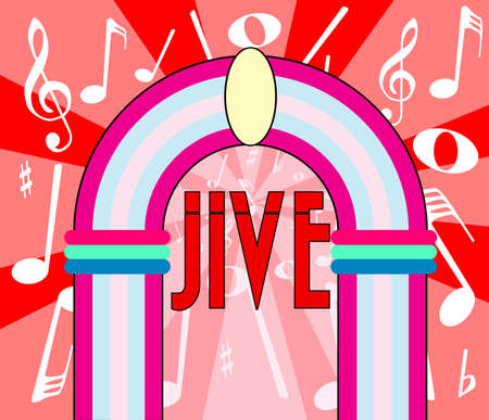jive: A jukebox depiction with the text jive and music notation as a background Illustration