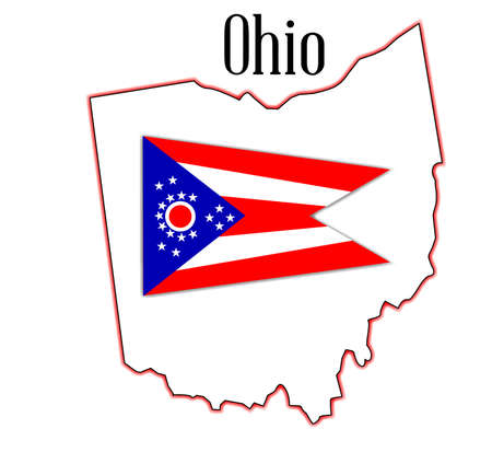 inset: Outline map of the state of Ohio with flag inset Illustration