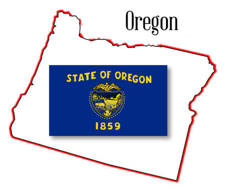 oregon coast: Outline of the state of Oregon isolated with flag inset
