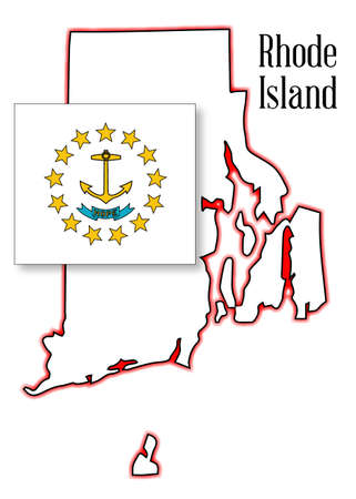 Outline map of the state of Rhode Island with map inset Vector