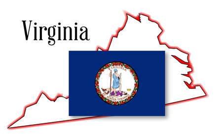 inset: Outline of the state of Virginia over white with inset flag