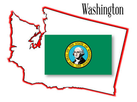 george washington: Outline of the state of Washington isolated with flag inset. Illustration
