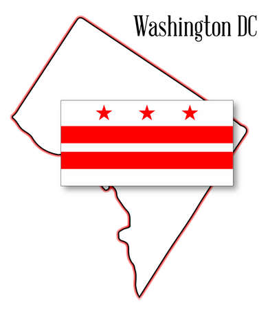 congress: Outline map of Washington DC over a white background with flag inset