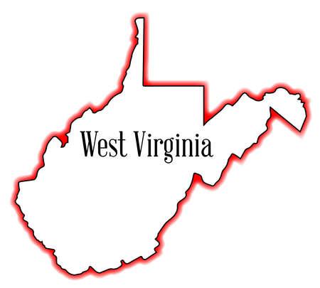 白い背景の上ウエスト バージニア州概要マップ