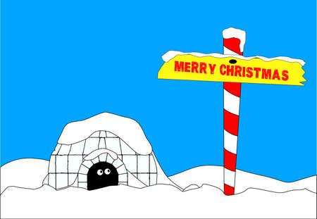 An Eskimo emerging from his igloo to find a Merry Christmas sign Vector