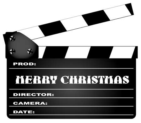 home video camera: A typical movie clapperboard with the legend MERY CHRISTMAS isolated on white.