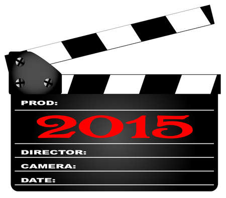 home video camera: A typical movie clapperboard with the legend2015 isolated on white.