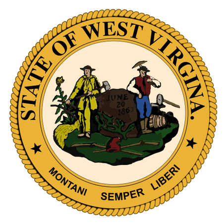 virginia: The state seal of West Virginia over a white background Illustration