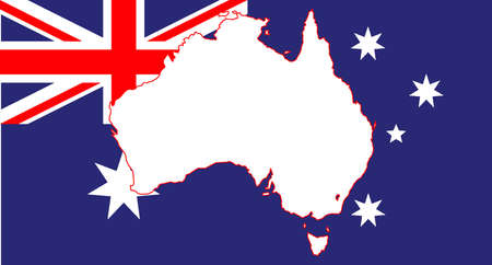inset: The flag of Australia with a map inset