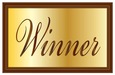 plaque: A brass award plaque or sign with wooden surround and the text Winner