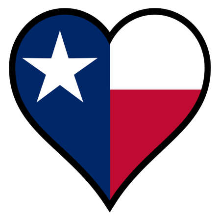 The flag of the state of Texas within a heart all over a white background Illustration