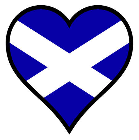 scots: Scottish Flag within a heart all over a white background