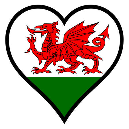 welsh: Welsh Dragon Flag within a heart all over a white background