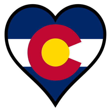 colorado state: Colorado State within a heart all over a white background