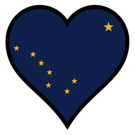 alaskabo: Alaska state flag within a heart all over a white background