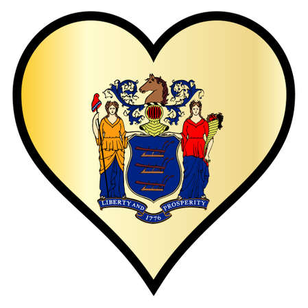 New Jersey state flag within a heart all over a white background