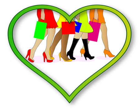 strutting: A collection of girls legs with shopping bags set into a heart over a white background