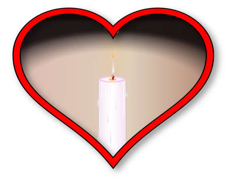 inset: A light candle inset into a red heart over a white background Illustration