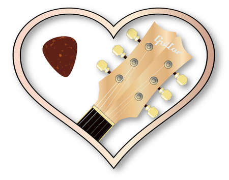 A guitar headstock and plectrum inset into a isolated pink heart.